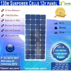 130W 12v Sunpower Mono Crystalline Square Panel Freight Inclusive!