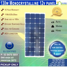 130W 12v Sunpower Mono Crystalline Square Panel PICKUP