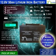 12.8V 50ah Lithium Ion LiFePo4 Deep Cycle Rechargeable Battery - PICK UP ONLY