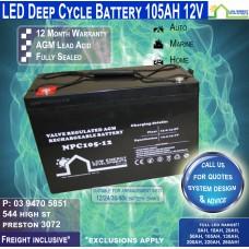 105AH 12V LED - AGM Battery Deep Cycle 105 AH