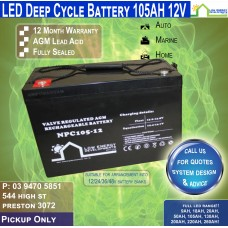105AH 12V LED - AGM Battery Deep Cycle - Pickup