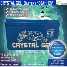 130AH 12V LED - Crystal Gel Battery Deep Cycle - Freight Inclusive