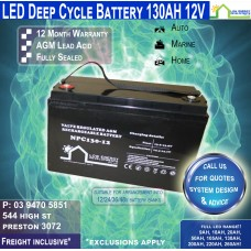 130AH 12V LED - AGM Battery Deep Cycle 130 AH