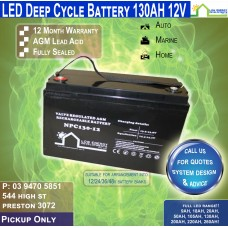 130AH 12V LED - AGM Battery Deep Cycle - Pickup