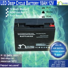 18AH 12V LED - AGM Battery Deep Cycle 18AH