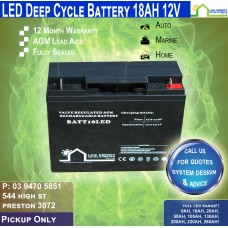 18AH 12V LED - AGM Battery Deep Cycle - Pickup