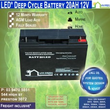 20AH 12V LED - AGM Battery Deep Cycle - Pickup