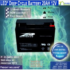 20AH 12V LED - AGM Battery Deep Cycle 20AH