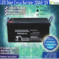 220AH 12V LED - AGM Battery Deep Cycle 220 AH