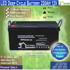 220AH 12V LED - AGM Battery Deep Cycle - Pickup