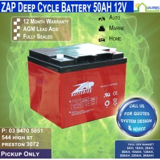 50AH 12V LED - AGM Battery Deep Cycle - Pickup
