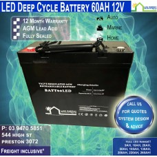 60AH 12V LED - AGM Battery Deep Cycle - Freight Inclusive
