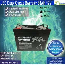 80AH 12V LED - AGM Battery Deep Cycle - Freight Inclusive