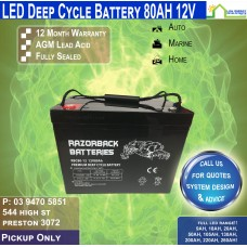 80AH 12V LED - AGM Battery Deep Cycle - Pickup Only