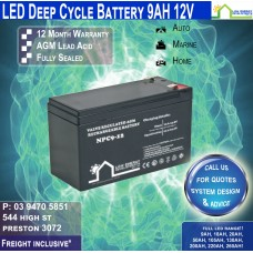 9AH 12V LED - AGM Battery Deep Cycle 9AH