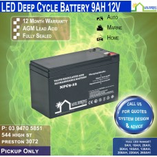 9AH 12V LED - AGM Battery Deep Cycle - Pickup