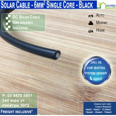 6mm2 Black DC Solar Cable per metre