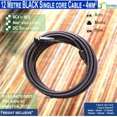 12 Metre Black Single Core MC4 - 4mm2 DC solar cable