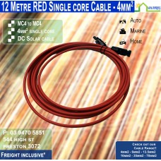 12 Metre Red Single Core MC4 - 4mm2 DC solar cable