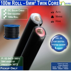 100M ROLL 6mm2 Twin DC Solar Cable per metre - Pickup Only