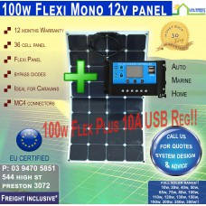 10a Reg + 100 Watt 12v Flexi Solar Panel Monocrystalline - Pickup