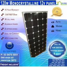 120 Watt 12v Recetangle Solar Panel Monocrystalline