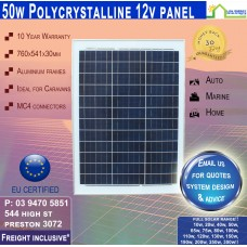 50 Watt 12v Solar Panel Poly - Freight