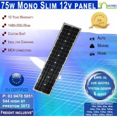 75 Watt 12v SLIM Solar Panel Monocrystalline