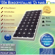 100 Watt 12v Solar Panel Monocrystalline - Pickup