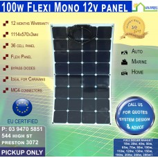 100 Watt 12v Flexi Solar Panel Monocrystalline - Pickup