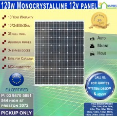 120 Watt 12v  Solar Panel Monocrystalline - Pickup