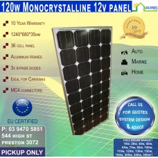 120 Watt 12v Recetangle Solar Panel Monocrystalline - Pickup