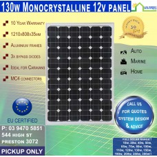 130 Watt 12v  Solar Panel Monocrystalline - Pickup