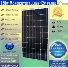 150 Watt 12v  Solar Panel Monocrystalline Pickup