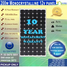200 Watt 12v Solar Panel Monocrystalline Pick up Only