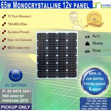 65 Watt 12v Solar Panel Monocrystalline - Pickup