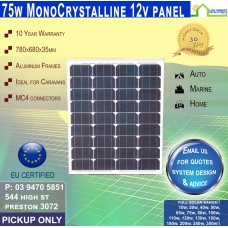 75 Watt 12v Solar Panel Monocrystalline - Pickup