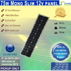 75 Watt 12v SLIM Solar Panel Monocrystalline - Pickup