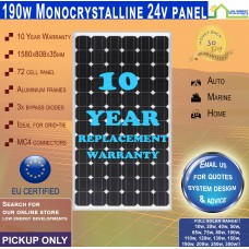 190 Watt 24v Solar Panel Monocrystalline - Pickup