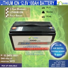 12V 100ah Lithium Ion LiFePo4 Deep Cycle Rechargeable Battery -V1-SMALL- FREE FREIGHT!!