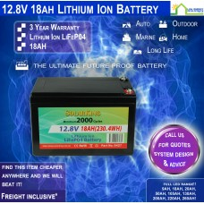 12V 18ah Lithium Ion LiFePo4 Deep Cycle Rechargeable Battery