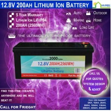 12V 200ah Lithium Ion LiFePo4 Deep Cycle Rechargeable Battery