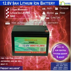 12V 9ah Lithium Ion LiFePo4 Deep Cycle Rechargeable Battery - FREE FREIGHT!!