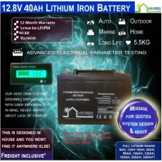 12.8V 40ah Lithium Ion LiFePo4 Deep Cycle Rechargeable Battery - Free Freight*