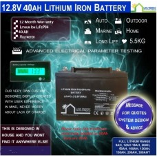 12.8V 40ah Lithium Ion LiFePo4 Deep Cycle Rechargeable Battery - PICK UP ONLY