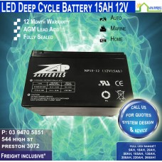 15AH 12V LED - AGM Battery Deep Cycle - Freight Inclusive