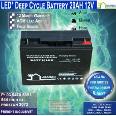 20AH 12V LED - AGM Battery Deep Cycle -Freight Inclusive